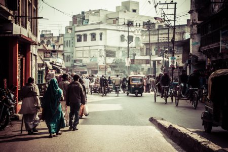 Photo for Typical street in India. - Royalty Free Image