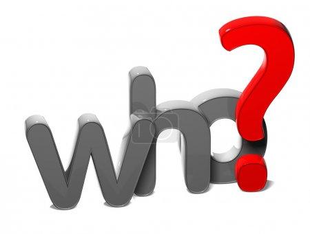 Photo pour Mot de question 3D qui, sur fond blanc - image libre de droit