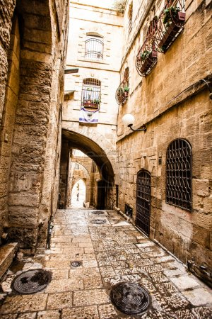 Narrow stone streets of ancient Tel Aviv, Israel