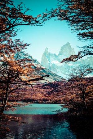 Photo pour Beau paysage naturel avec Mt. Fitz Roy vu dans le Parc National de Los Glaciares, Patagonie, Argentine - image libre de droit
