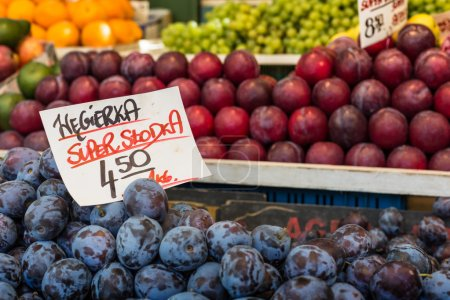 Photo for Plums on the market stand in Poland. - Royalty Free Image