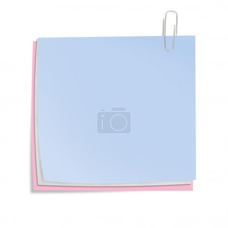 Color sheets of paper with clip isolated. Business concept illus