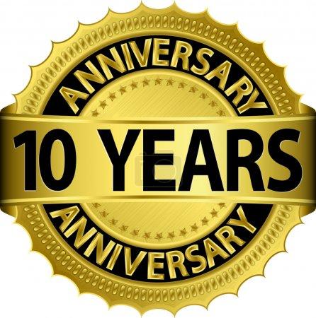 Illustration pour Étiquette dorée de 10 ans avec ruban, illustration vectorielle - image libre de droit