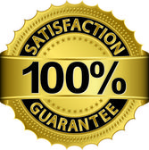 100 percent satisfaction guarantee golden sign with ribbon vector illustration