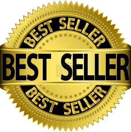 Illustration for Best seller golden label, vector illustration - Royalty Free Image