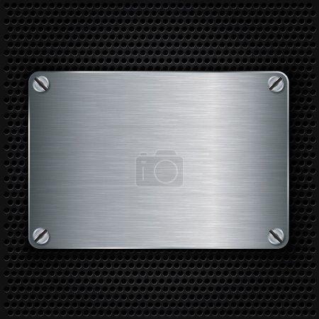 plaque de texture en métal avec vis, illustration vectorielle
