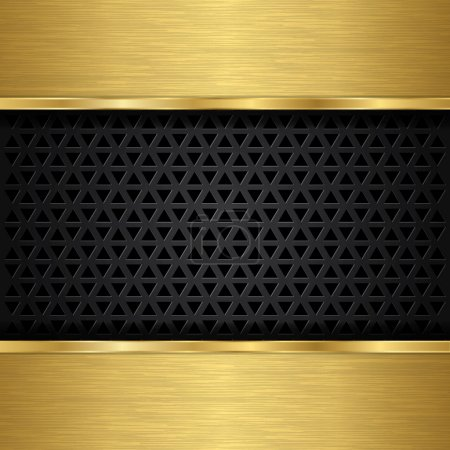Illustration for Abstract golden background with metallic speaker grill, vector illustration - Royalty Free Image