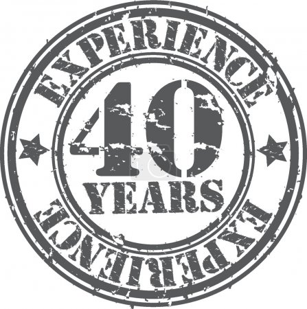 Grunge 40 years of experience rubber stamp, vector illustration