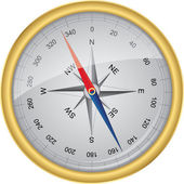 Golden vector compass with wind rose vector illustration