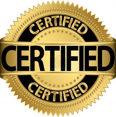 Illustration for Certified golden label, vector illustration - Royalty Free Image