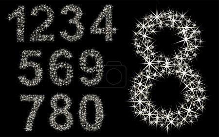 Number set of shining stars , from 1 to 9, vector illustration