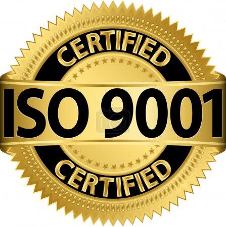 Illustration for ISO 9001 certified golden label, vector illustration - Royalty Free Image