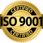 ISO 9001 certified golden label vector illustration