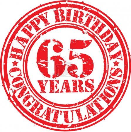 Happy birthday 65 years grunge rubber stamp, vector illustration