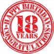 Happy birthday 18 years grunge rubber stamp, vecto...