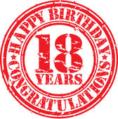 Happy birthday 18 years grunge rubber stamp vector illustration