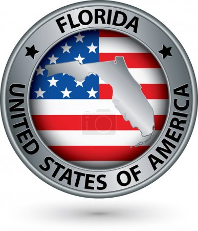 Florida state silver label with state map, vector illustration