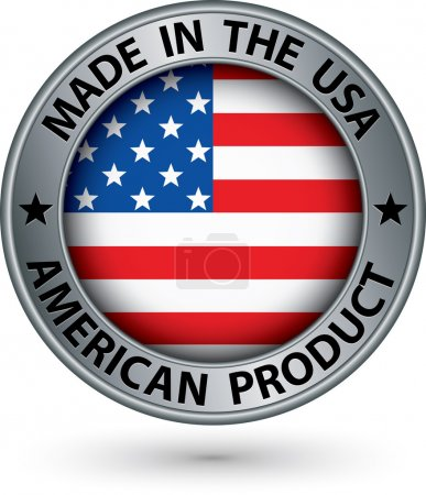 Made in the USA american product silver label with...