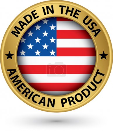 Made in the USA american product gold label with f...