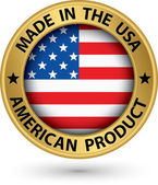 Made in the USA american product gold label with flag vector illustration