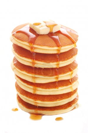 Stack of pancakes isolated on white background...