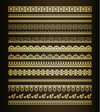 Illustration pour Ensemble de lignes et de bordures dorées sans couture - image libre de droit