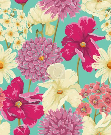 Illustration for Floral seamless pattern with flowers in watercolor style - Royalty Free Image