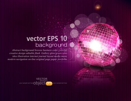 Illustration for Vector background with a mirror ball and reflection - Royalty Free Image