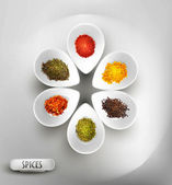 Vector background with white bowl on the table the filling of spices