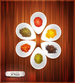Vector background with white bowl on the wooden background the filling of spices