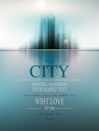 Illustration for Vector banner for business with the city and reflection - Royalty Free Image