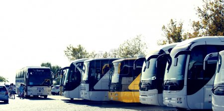 Buses on a parking