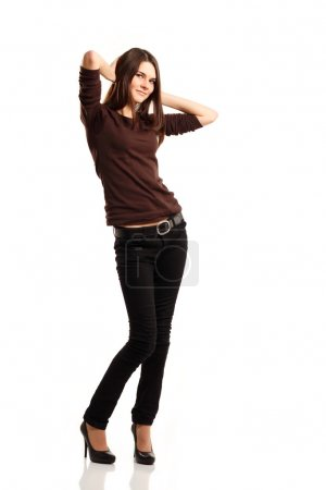 attractive teenager girl full length isolated on white