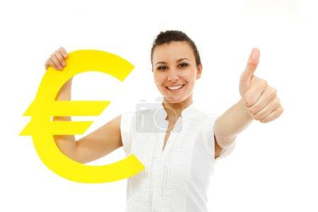 businesswoman happy thumb up holding euro symbol isolated on whi