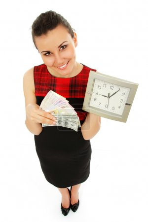 time is money - businesswoman cheerful holding clocks and cash i