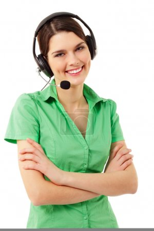 Support phone operator cheerful in headset isolated on white