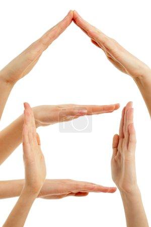 Photo pour Maison de mains concept doigt cadre isolé sur fond blanc - image libre de droit