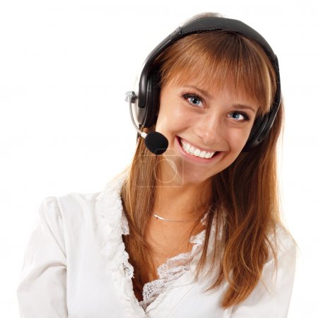 Support phone operator beautful young woman in headset
