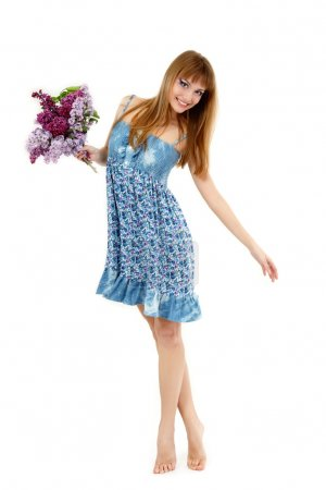 teen girl beautiful fresh with spring bunch flower lilac