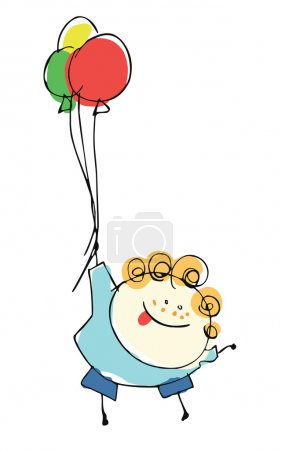 Boy child flying with balloons - cartoon people illustration