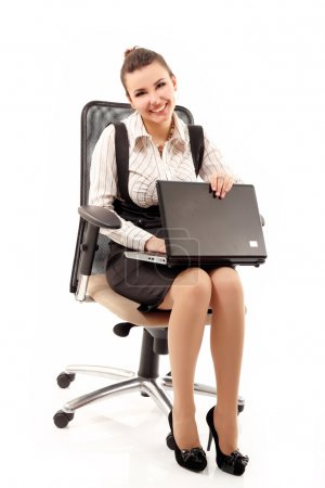 business woman cheerful working with laptop