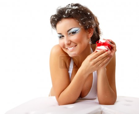 christmas young sexy woman happy smiling with present
