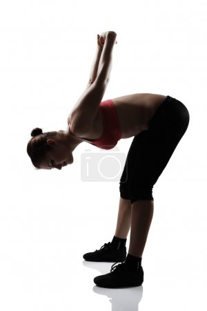 Photo for Sport young athletic woman leans over white background - Royalty Free Image