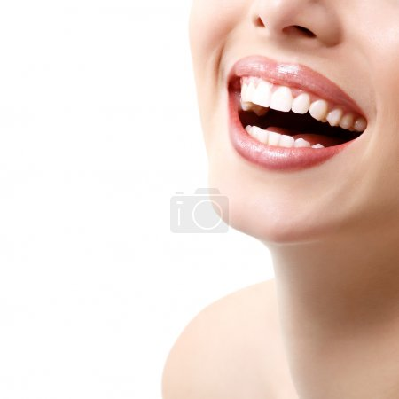 Photo for Beautiful wide smile of young fresh woman with great healthy white teeth - Royalty Free Image