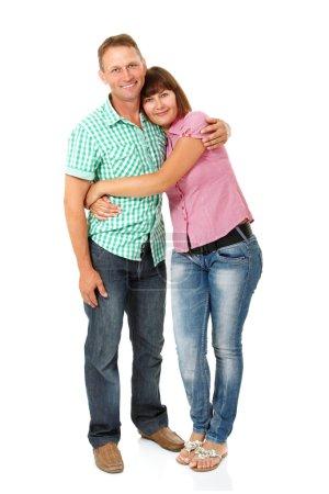 Photo pour Heureux mi adulte femme et mari avoir amusant et souriant sur blanc - image libre de droit
