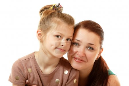 Photo for Little girl with mother on white background - Royalty Free Image