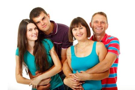 Photo pour Heureuse famille caucasienne de deux générations s'amuser et sourire - image libre de droit
