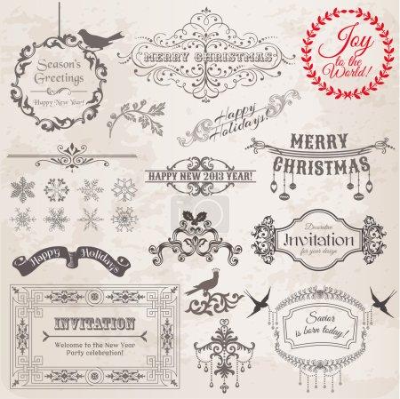 Foto de Conjunto de vectores: elementos caligráficos del diseño de la Navidad y decoración de la página, cuadros de época - Imagen libre de derechos