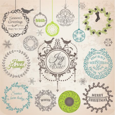 Illustration for Vector Set: Christmas Calligraphic Design Elements and Page Decoration, Vintage Frames - Royalty Free Image