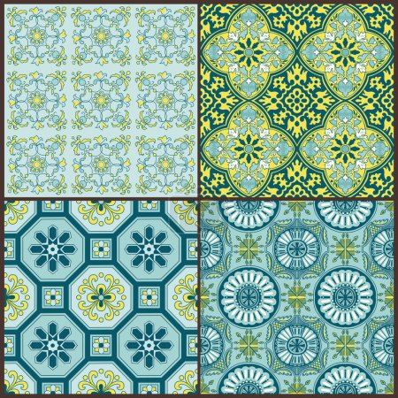 Illustration for Seamless Vintage Background Collection - Victorian Colorful Tile in vector - Royalty Free Image